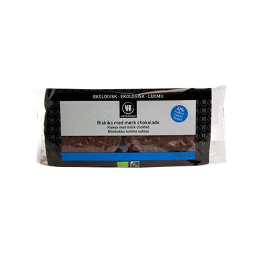 Tilbud på Riskager  m. mørk chokolade økologisk 100 gr fra Urtekram