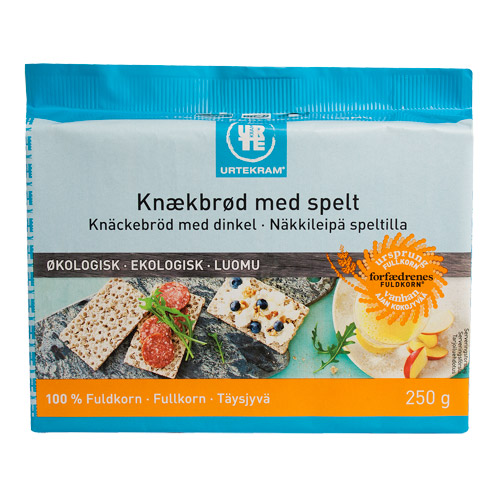 Fuldkornsknækbrød m. spelt økologisk 250 gr fra Urtekram