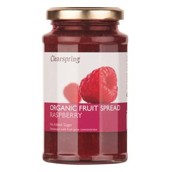 Marmelade hindbær uden tilsat sukker økologisk 290grfra Clearspring