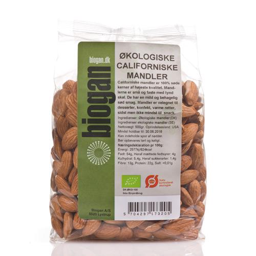 Mandler californiske økologisk 500gr Biogan