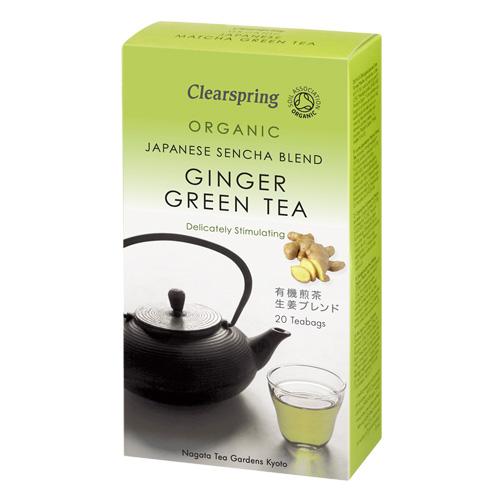 Image of   Sencha te med ingefær 20 breve Clearspring