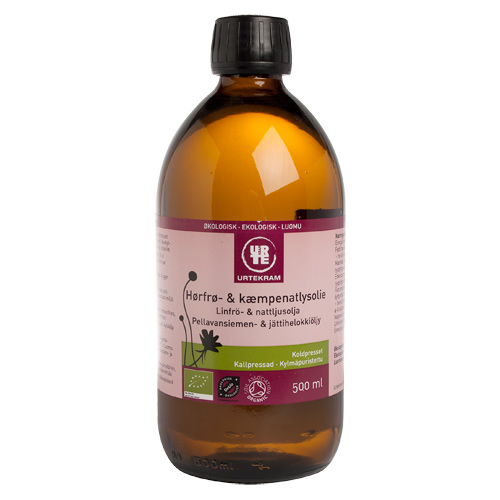 Hørfrø- & kæmpenatlysolie øko 500 ml fra Urtekram