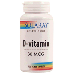 Image of D-vitamin 30 mcg 100kap fra Solaray