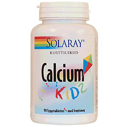 Calcium Kids tygge med D frugtsmag 90 tab fra Solaray