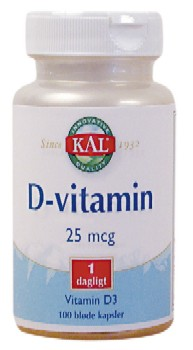 D-vitamin 25 mcg 100kap fra Kal