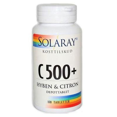 Image of C-vitamin C 500 + hyben/citron 100tab fra Solaray
