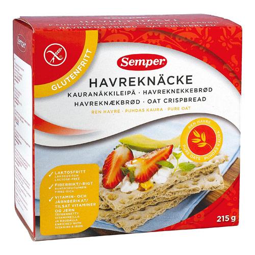 Tilbud på Knækbrød havre glutenfri 215gr Semper