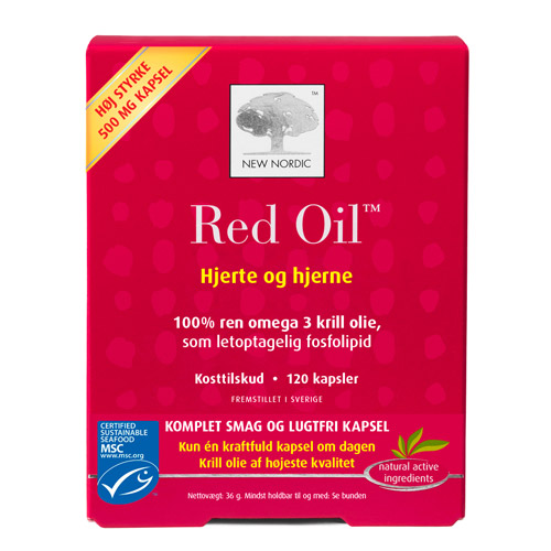 Red Oil omega-3 krill olie 60 kap fra New Nordic Healthcare