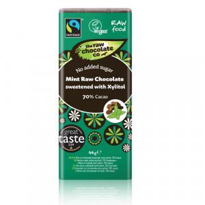 Minted 70% Mørk rå chokolade m. Mint 44 gr.