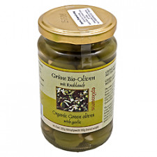 Oliven Grønne m.hvidløg, Græsk Ø 320 gr.