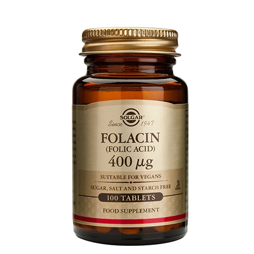 Folinsyre (Folacin) 400 mcg 100 tab fra Solgar Nordic
