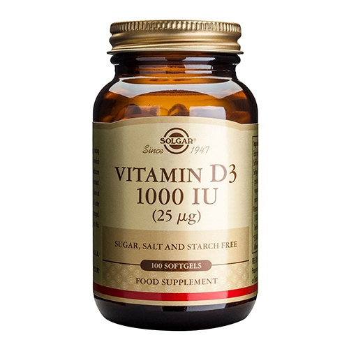 Image of D-Vitamin 25 mcg softgels (1000 IE) 100 kap fra Solgar Nordic